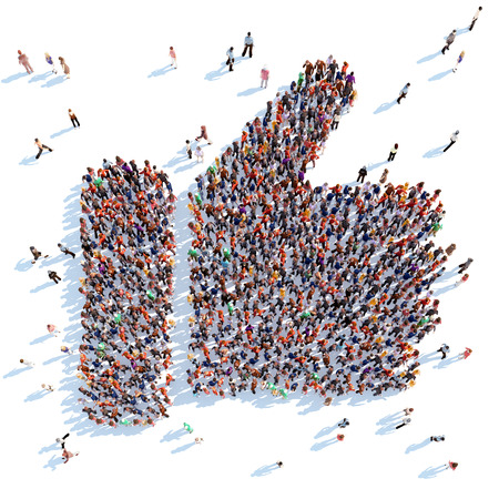 Large group of people in the form of a like. White background.
