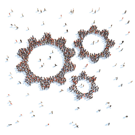 spectator: Large group of people in the form of gears. White background.