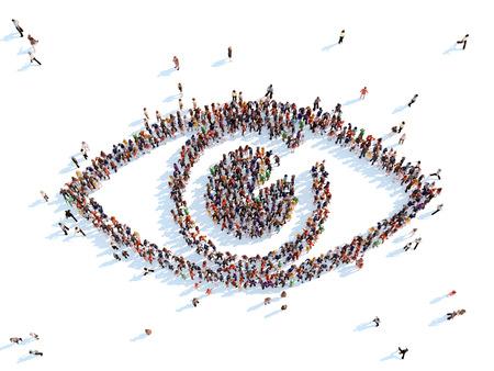 Grote groep mensen in de vorm van het oog. Witte achtergrond.