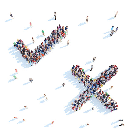overcrowded: Large group of people in the form of  check mark. White background.