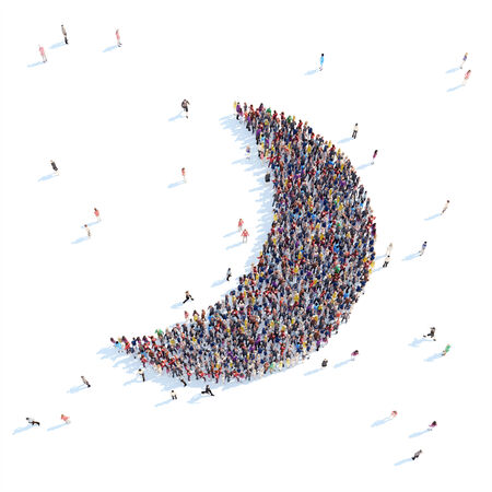 overcrowded: Large group of people in the form of the moon. White background.