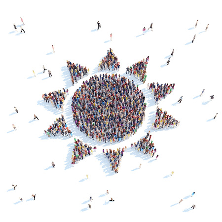 overcrowded: Large group of people in the form of the sun. White background.