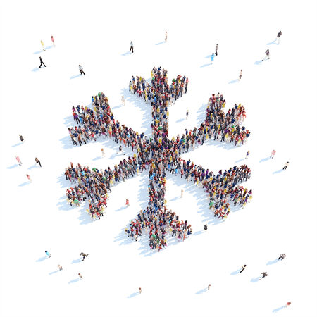 overcrowded: Large group of people in the form of snowflakes. White background.