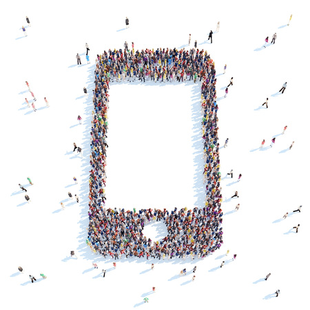 overcrowded: A large group of people in the form of a  phone. White background.