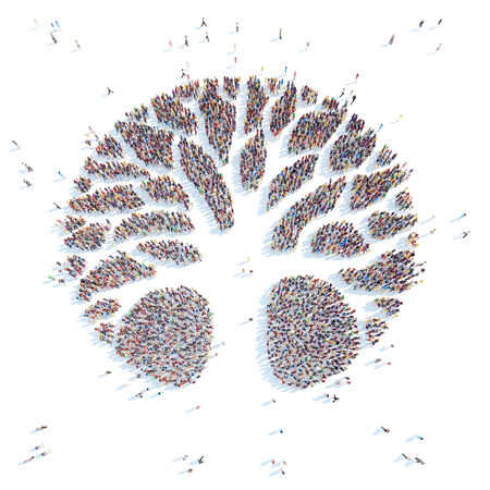 overcrowded: A large group of people in the form of a tree. White background.