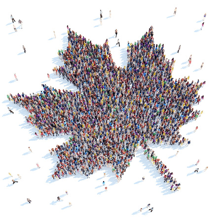 overcrowded: Large group of people in the form of a maple leaf. White background.