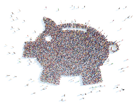 overcrowded: Large group of people in the form of piggy bank. White background. Stock Photo