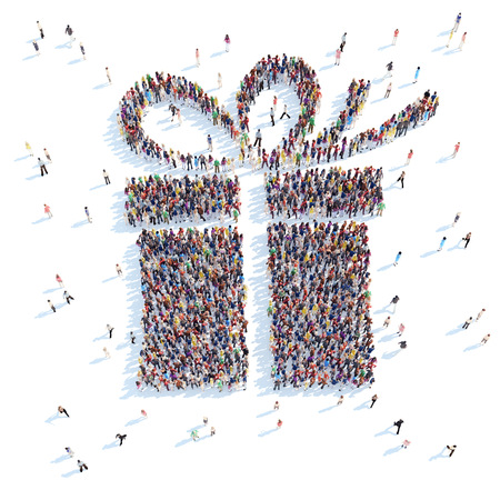 overcrowded: Large group of people in the form of a gift. White background.