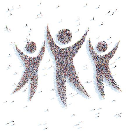 Große Gruppe von Menschen in Form von mans. Weißen Hintergrund. Standard-Bild - 34241863