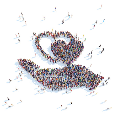 Large group of people in the form of palm with hearts. White background.