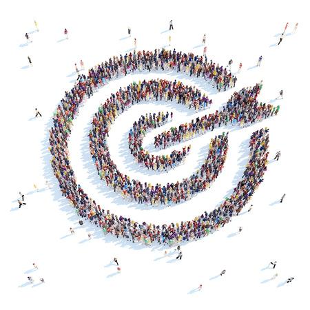 Een grote groep mensen in de vorm van een doel. Witte achtergrond. Stockfoto