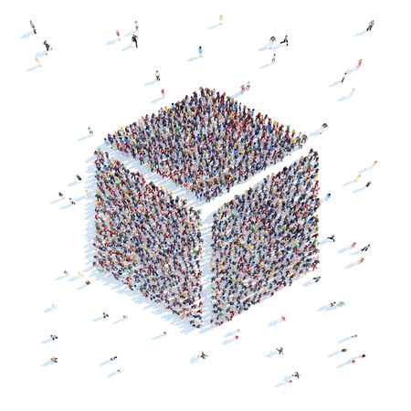 overcrowded: A large group of people in the form of a cube. White background.