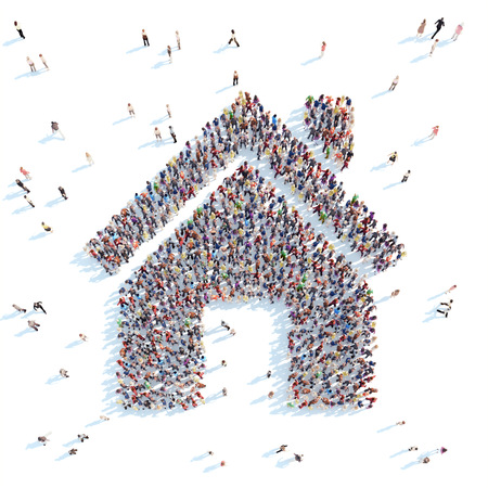 shape: Un grand groupe de personnes sous la forme d'une maison. Fond blanc.