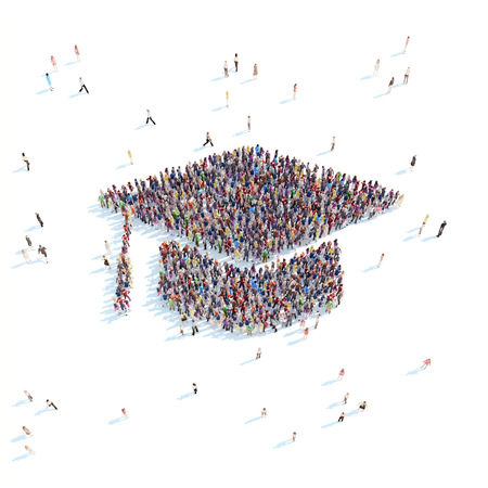 Large group of people in the form of graduate cap. White background.