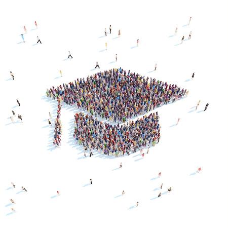 Grote groep mensen in de vorm van afgestudeerde cap. Witte achtergrond.