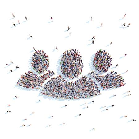 Grote groep mensen symboliseren mensen. Witte achtergrond.