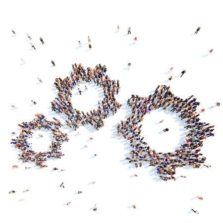 Large group of people in the form of gears. White background.