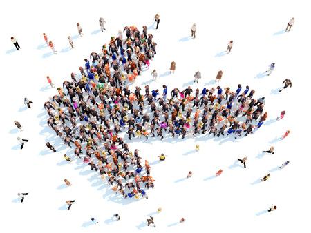 方向を象徴する矢印の形で人々 の大規模なグループ。白い背景。