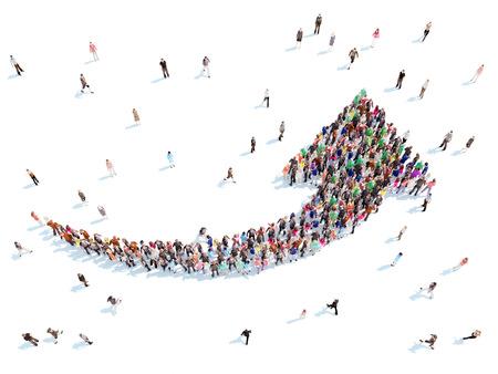 Grote groep mensen in de vorm van pijlen die de richting symboliseren. Stockfoto