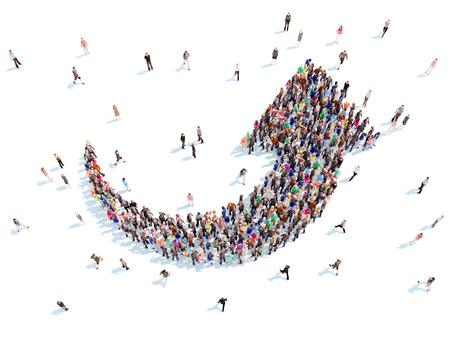 and people: Gran grupo de personas en forma de flechas que simboliza la dirección .white fondo.