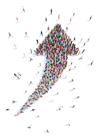 stock predictions: Large group of people in the form of arrows symbolizing the direction .White background. Stock Photo