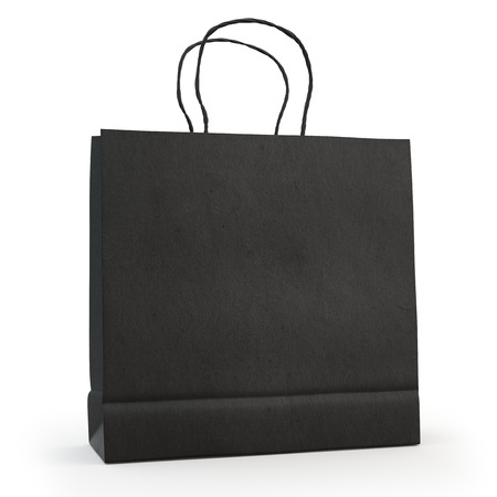 illustrate: illustrate of a black paper bag , isolated , white background