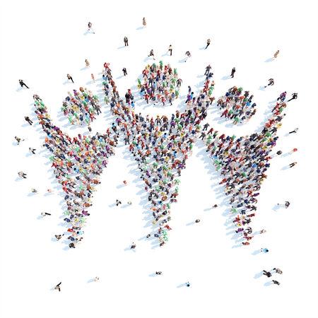 Grande gruppo di persone in forma di uomo. Sfondo bianco. Archivio Fotografico - 34744723