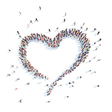Grote groep mensen in de vorm van een hart. Geïsoleerde, witte achtergrond.