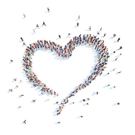 Large group of people in the form of heart. Isolated, white background.