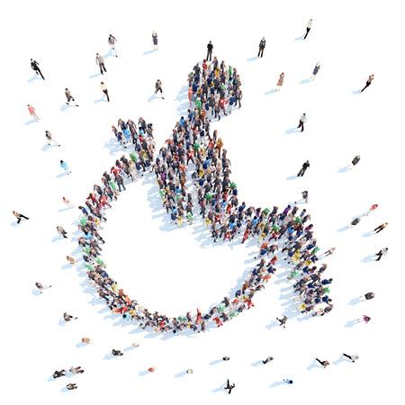 personas discapacitadas: Gran grupo de personas en la forma de una persona con discapacidad. Aislado, fondo blanco.