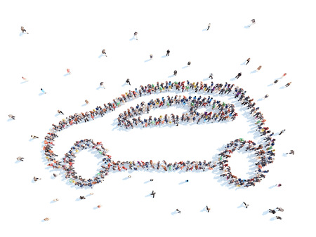 people laptop: Large group of people in the form of the car. Isolated, white background.