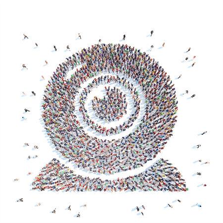 Gran grupo de personas en forma de webcams. Aislado, fondo blanco. Foto de archivo - 34746029