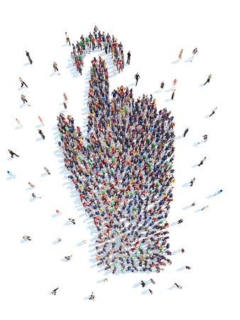 Un grand groupe de personnes sous la forme d'une main. Isolé, fond blanc.