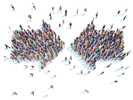Large group of people in the form of arrows. Isolated, white background.