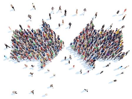 grupo: Gran grupo de personas en forma de flechas. Aislado, fondo blanco. Foto de archivo
