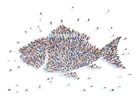 fish form: A large group of people in the form of a fish. Isolated, white background.