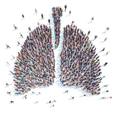 A large group of people in the form of a human lung medicine. Isolated, white background. Stock Photo