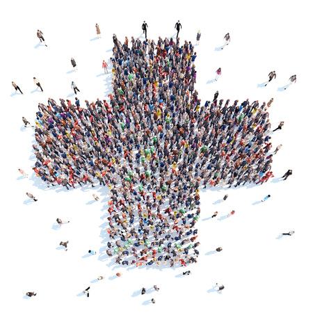 クロス、医学医療の形で人々 の大規模なグループ。分離、白背景。