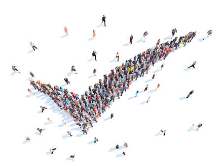 chek: Large group of people in the form of a chek mark. Isolated, white background.