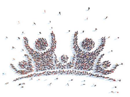Velká skupina lidí v podobě člověka. Isolated, bílé pozadí.