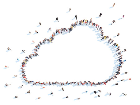 people laptop: Large group of people in the form of clouds. The Weather. White background, isolated. Stock Photo