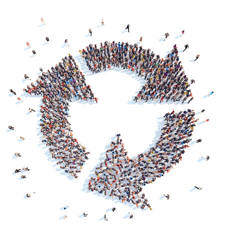 group direction: Large group of people in the form of arrows symbolizing the direction .White background. Stock Photo