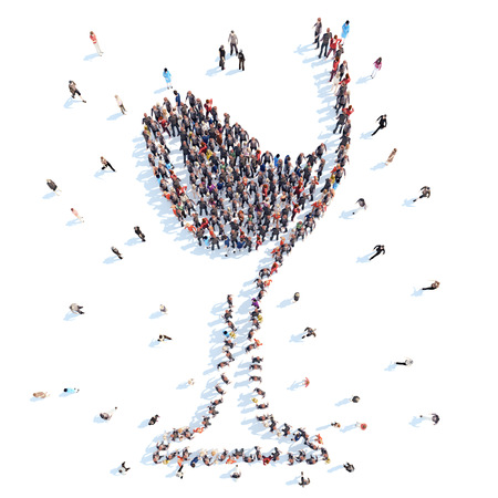 Large group of people in the form of a glass of wine. Isolated. White background.