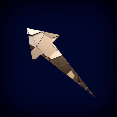 acute angle: Golden broken arrow on a dark background. Symbolizing technology. Direction.
