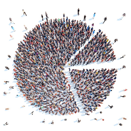 Grote groep mensen in de vorm van cirkelvormige diagram.Isolated, witte achtergrond. Stockfoto