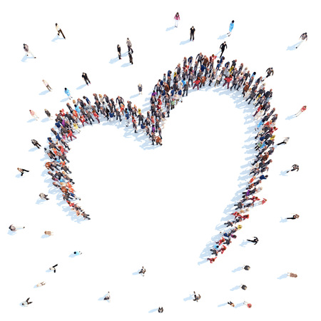 마음의 형태로 사람들의 큰 그룹, 사랑. 절연, 흰색 배경.