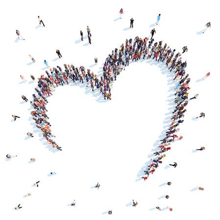 comunidad: Gran grupo de personas en forma de corazones, amor. Aislado, fondo blanco.