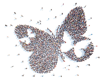 social gathering: A large group of people in the shape of a butterfly. Isolated, white background.