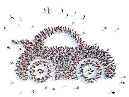 sharing: Large group of people in the form of a car. Isolated, white background.