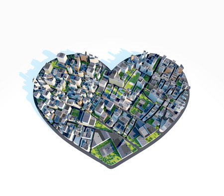 amorousness: City heart shaped , white background . Love, urbanization.